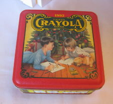 Vintage 1992 Crayola Collectible Crayon Tin W/Crayons and Teddy Bear Ornament