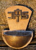 altes Weihwasserbehälter Messing Holz Kirche Kruzifix Sammlerstück