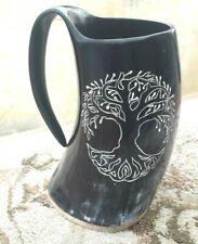 Tree of life engraved viking drinking horn ale mug Tankard for anniversary gift