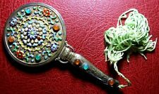 Vintage enameled with colored stones Gold plated silver small Rare hand Mirror
