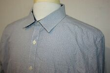 Original Penguin Slim Fit Blue Geometric Print Cotton Dress Shirt Sz 17.5 36/37