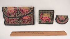 VINTAGE 1960s MOD TOOLED LEATHER CLUTCH WALLET COIN PURSE SET BIRD MADE IN INDIA