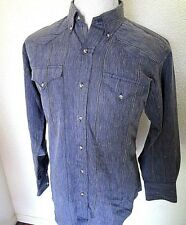 UNIQUE Vintage Men's H Bar C Blue Western Shirt Wood grain. 16 1/2 Long tail