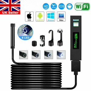 8 LED Waterproof WIFI Endoscope Borescope Inspection Camera For iPhone Android