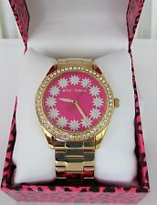 Betsey Johnson Daisy Gold Bracelet Watch Crystals Pink New in Box
