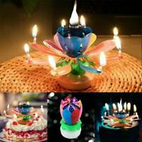 Magic Rotating Lotus Candle Birthday Flower Musical Floral Cake Candles W/ Music
