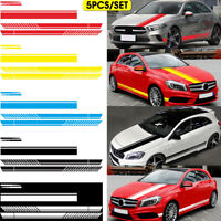 5PCS Long Stripe Graphics Car Racing Side Body Hood Mirror Vinyl Decal