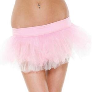 Reversible Petticoat Tutu Layered Ruffled Mesh Tiered White Pink 118203