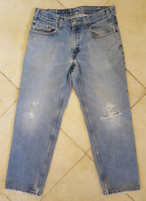 """Levis 550-Jeans-Blue-33x28""""-Distressed Casual-Mens-Cowboy Casual Grunge Vtg Hole"""