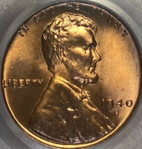 1940-S Lincoln Cent Penny MS66RD Wheat Penny Red Gem!