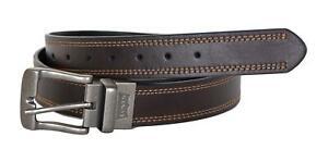 Levi's Men's 38MM Wide Reversible Flat Edge Leather Belt Brown Black