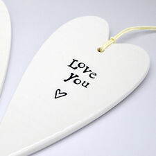 East Of India Porcelain Heart - Love You - Christmas Gift