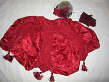 Victorian Dickens Edwardian caroling costume bonnet  CAPE accessories burgundy