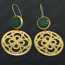Gold Drop Earrings Jade Disc Semi Precious Gemstone Bronze Disc Turkish Ottoman