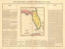 'Floride' . territorio, antes de la condición de estado de la Florida. Buchon 1825 Antiguo Mapa Antiguo