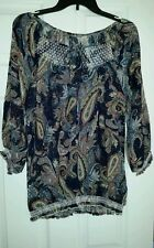 LOVE POTION TOP BLOUSE SIZE PM  MULTI-COLOR PAISLEY EMBROIDERED SHEER NWT