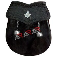 Masonic Boys Sporran Scottish Front 2 Tassels Free Chain Black Fur AAR Brand New