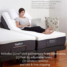 2 Split King Electric Bed Frame Bases AND MATTRESSES Adjustable Remote Medical