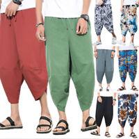 Mens Capri Trousers Loose Baggy Boho Dance Casual Hippie Cotton Harem Pants