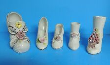 5 White Porcelain Ceramic Ladies Shoe Figurine Trimmed in Silver Pink Gold Shoes