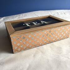 6 Compartment Tea Caddy - Wooden Modern Geometric Design