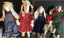 """Primitive bunny rabbit family of five ( 5 ) cloth dolls  24"""" approx baby 8"""""""