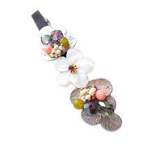 HANABE KOREA Handmade Flower Mother of Pearl Crystal Hair pin Barrette White