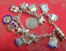 Fine Silver Charm Bracelet With Enamel Charms, Harp Mandy 4 Pence Animals Etc