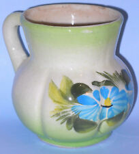 """4.5"""" Small Dainty Pitcher Handle Green Blue Flowers Decorative Planter Holder"""