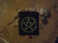 Pentagram  Black Velveteen Drawstring Bag Gemstones Runes Charms Stones Herbs