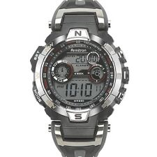 Armitron Sport Mens Silver Tone & Black Digital Chronograph Watch 40/8231RDGY