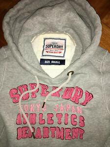 SUPERDRY Damen Hoodie Größe S Hellgrau mit rosa Logo