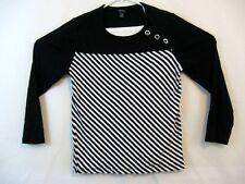 Nautica Womens top black and white stripe long sleeve