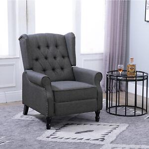 HOMCOM Vintage Reclining Sofa Armchair Single Couch Home Cinema Chair Deep Grey