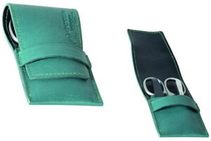 Stainless Steel & Real Leather Teal Manicure Case Set - DOVO Solingen Germany