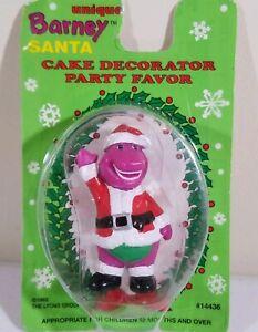 VINTAGE NEW 1993 Unique Barney Santa Cake Topper Decoration Party Favor #14436