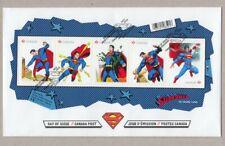 SUPERMAN = Comic book Hero = Souvenir Sheet of 5 stamps  FDC, OFDC, Canada 2013