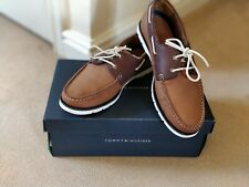 Men Tommy Hilfiger Classic Leather Boat Shoes Brown Size 44 EU 10 UK