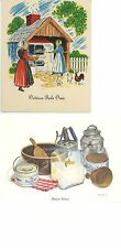 1 VINTAGE BUTTER PRESS CHURN PRINT 1 CHICKENS OUTDOOR BAKE OVEN PIE RECIPE CARD