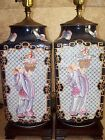 Antique Pair Of Chinese Famille Rose Blue Ground Cong Shape Porcelain Vase Lamps