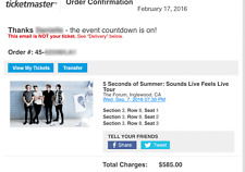 5 Seconds of Summer Tickets 09/07/16 (Inglewood) VIP Sound Check