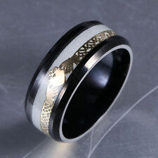 Stainless Steel Irish Claddagh Celtic Ring Noctilucent Wedding Promise  Band