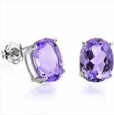 AMETHYST SILVER EARRINGS 1.00 CWT WHITE GOLD LOOK  BRIDAL MOTHERS DAY FREE P&P