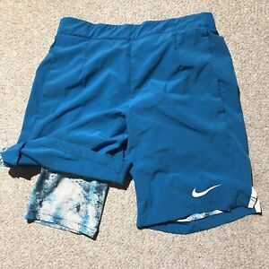 Nike Dri-Fit Running Shorts Blue With Leggings Mens Small