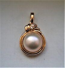 Designer 14K Yellow Gold 13MM Mabe Pearl Diamond PENDANT ENHANCER 14kt 5.2 g.