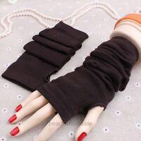 Fashion Women Girl's Knitted Wool Long Fingerless Arm Warmers Winter Gloves New