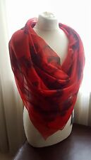 NEW Alexander McQueen Scarf Aquatic Skull Scarf in Red