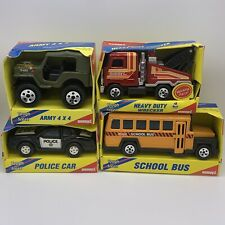 Vintage 1980 Buddy L Lot of 4: Army 4x4, Police Car, Heavy Duty Wrecker & Bus