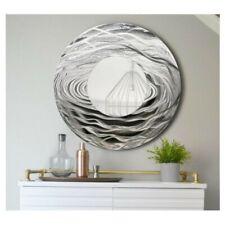 Round Silver Wall Mirror Metal Wall Art Accent for Modern Home Decor - Jon Allen