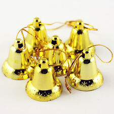 Golden Christmas Tree Hanging Jingle Bells Lot 9X Party Decoration Ornaments New